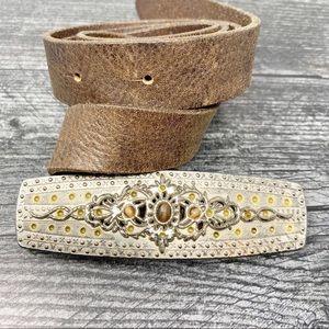 Silver embellished boho leather buckle belt